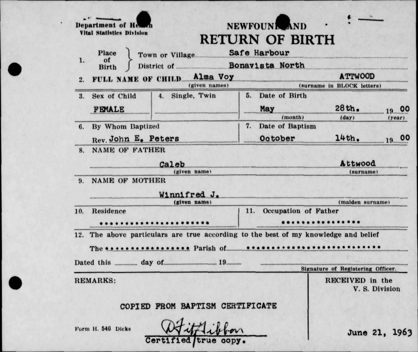 Alma Voy Attwood Birth Certificate